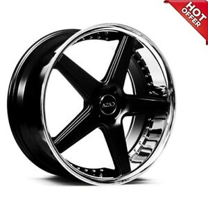 4rims 22 Staggered Azad Wheels Az008 Semi Gloss Black With Chrome Lip Special