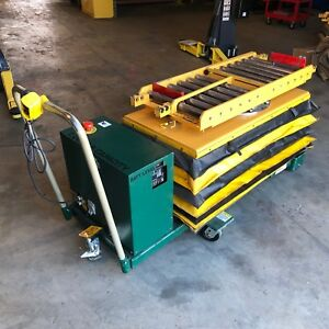 Titan Electric Lift Table Roller Deck Mold Change Cart 2000 Lbs Cap Hydraulic