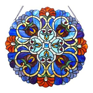 Victorian Tiffany Style Stained Glass Round Window Panel 21 Wide Handcrafted