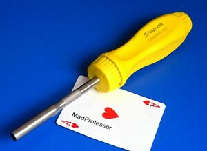 Snap on Tools Magnetic Standard Yellow Hard Grip Ratcheting Screwdriver New 2018