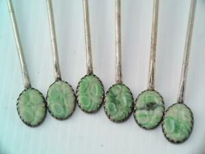 6 Antique Chinese Sterling Silver Carved Green Jade Ice Tea Spoons