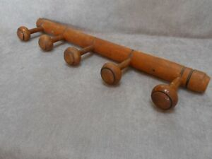 French Vintage Wood Coat Hat Rack W 5 Pegs