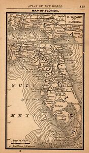 Rare Antique Florida State Map 1888 Miniature Map Of Florida Wall Art 6398