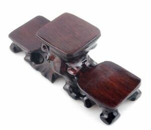 Mahogany Wood Triple Display Stand For Japanese Netsuke Snuff Bottles Figurines