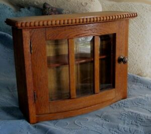 Antique Oak Wooden One Door Cupboard Old Beveled Glass Ornate Beaded Detail