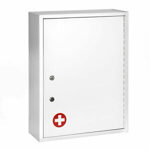 Adirmed White Steel Large Wall Mount Dual Lock Medical Security Medicine Cabinet