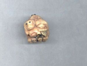Shs No Evil Monkey Netsuke Hand Carved Tagua Nut Figurine 758