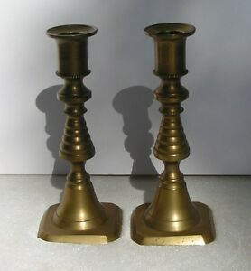 Antique Candle Holders Sticks Brass Pair England Push Ups Beehive