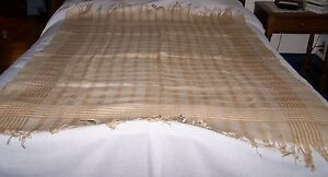 Antique Linen Tablecloth Tan Brown White Plaid Table Cover