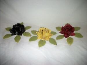 Italian Tole Roses 3 Candle Holders Chippy Chic Shabby Cottage