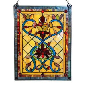 Stained Glass Vintage Victorian Tiffany Style Window Panels 18 W X 24 T Pair