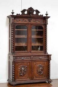 Carved Late 1800 S Antique French Renaissance Oak Hunt Cabinet Bookcase