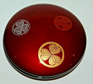 Lacquer On Wood Signed Incense Box 3 Family Crests Gold Silver Bronze Japanese