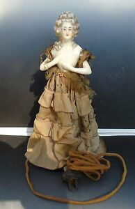 Antique Porcelain Marie Antoinette Early Electric Lamp Wire Frame Silk Dress