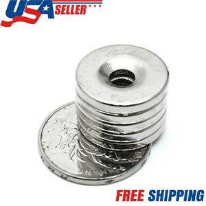 Usa N35 Countersunk Ring Round Disc Strong Magnets Rare Earth Neodymium Hole Lot