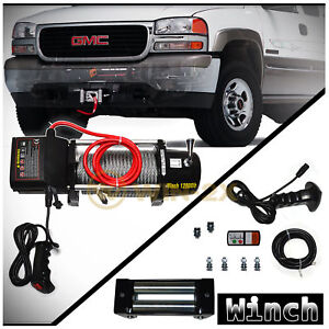 Win 2x 12000lb 12v Electric Recovery Winch Kit W Rope Fairlead Hook Remote Lead