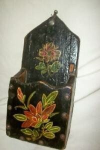 Antique Hp Tole Floral Fireplace Match Holder Box Striker Candle Nail Heads Old