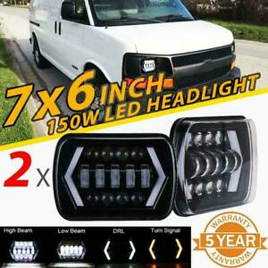 2pcs 5x7 7x6 150w Led Headlight Hi lo Drl Beam For Chevrolet Express Cargo Van