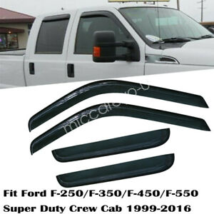 Smoke Window Vent Visors Shade For Ford F250 F350 F450 F550 Crew Cab 2000 2016