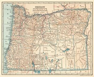 1925 Antique Oregon State Map Vintage Map Of Oregon Gallery Wall Art 6436