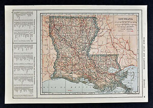 1917 Poates Map Louisiana New Orleans Baton Rouge Shreveport Lake Charles La