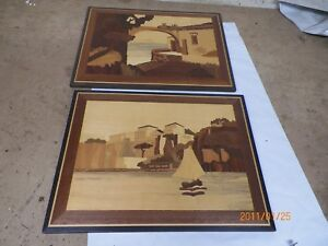 3 Old Marquetry Inlaid Wood Pictures European Village Scenes