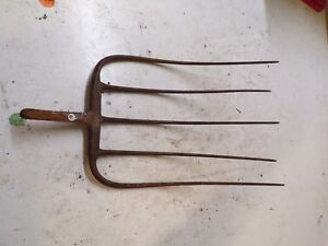 Old 5 Tine Hay Fork Farm Pitchfork Head Only Lot C