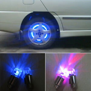 2x Led Wheel Valve Dust Caps Lights Safety Car Motorbike Tire Tyre Bike Decor