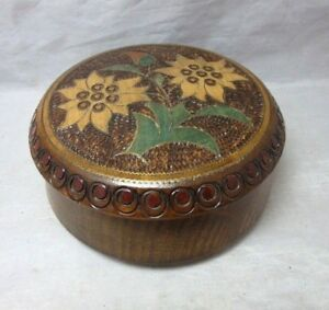 Signed Wood Burned Jewelry Box Maria Kowalska Edelweiss Brass Inlay