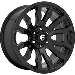 20x9 Black Fuel Blitz D675 Wheels 5x5 1