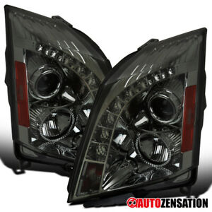 For 2008 2014 Cadillac Cts Smd Led Drl Stip Smoke Lens Projector Headlights Pair