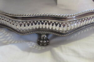 Antique Extra Large Silver Plate Downton Abbey Butler Gallery Serving Tray
