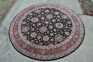 8 Feet Round Hand Knotted Persian Design Rug Nice
