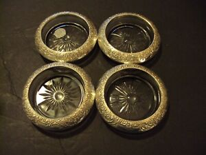 Sterling Silver Frank Whiting Botticelli Floral Coaster Set Of Four