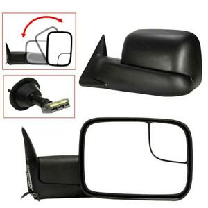 Power Adjusted Tow Mirrors Pair For 94 97 Dodge Ram 1500 2500 3500 Manual Flip