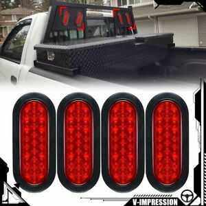 4x 6 Oval 24 led Trailer Tail Lights Red Turn Stop Brake Tow Truck Rv Universal