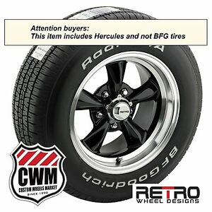 15 Inch 15x7 Black Wheels Rims Tires 215 65r15 For Ford Mustang 1967 1970