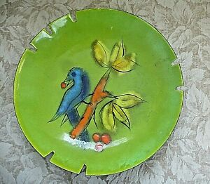 Mid Century Modern Bird Curtis Jere Enameled Copper Ashtray Vintage Dish