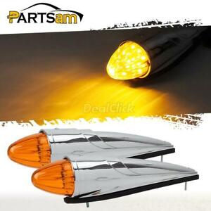 2pc 17 Led Amber Truck Rv Roof Cab Marker Clearance Light For Peterbilt Kenworth