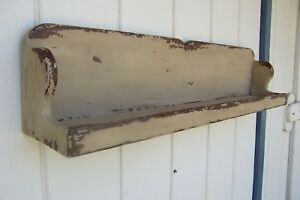Primitive Rustic Painted Country Plate Display Wall Shelf Farmhouse Shelves Rack