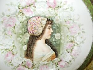 Victorian Portrait Plate Made In Austria Roses Medieval Lady Portrait