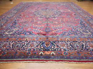 C1950 Super Persiann Signed Classic Serapi Bijar Bidjar 10x13 Estate Sale Rug