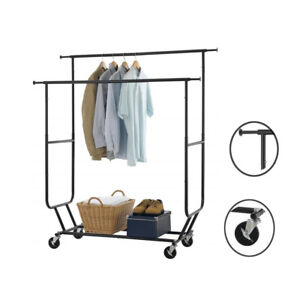 High Grade Double Bar Clothing Rack Rolling Garment Hanger Shelf Home Saving