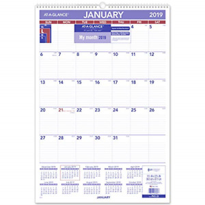 At a glance Monthly Wall Calendar With Ruled Daily Blocks 15 1 2 X 22 3 4 White