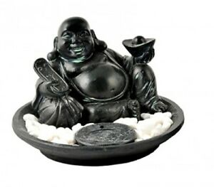 Hotei Buddha Resin Holder Cone Stick Joss Incense Burner 41165