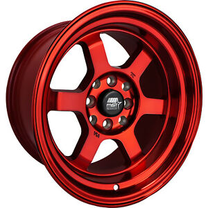 15x8 Red Mst Time Attack Wheels 4x100 4x4 5 0 Fits Ford Mustang 4 Lug Only
