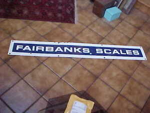 Antique Blue White Porcelain Fairbanks Scales Advertising Sign 8 X 60