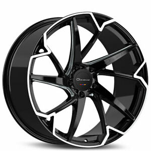 Qty4 22 Staggered Giovanna Wheels Pistola Gloss Black With Machined Face Ca