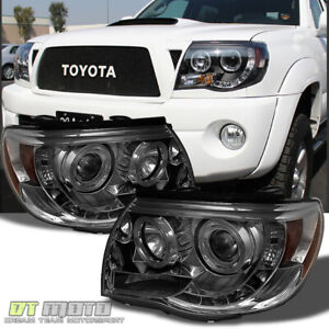 For Smoked 2005 2011 Tacoma Led Drl Halo Projector Headlights Left Right 05 11