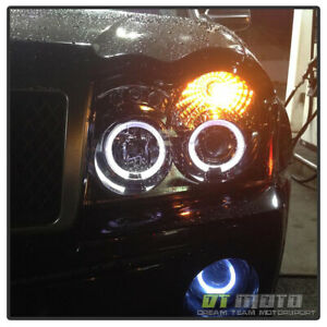 Smoked 2005 2007 Jeep Grand Cherokee Halo Projector Led Headlights Left Right